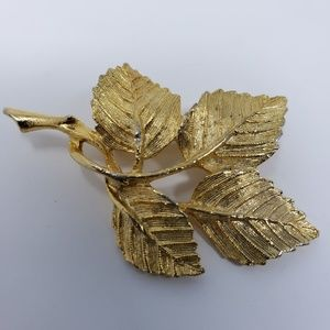 DuBarry Fifth Avenue gold tone leaf brooch